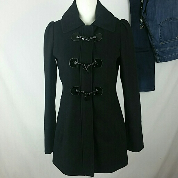 Guess Wool Hooded Peacoat with Toggle Buttons Blk